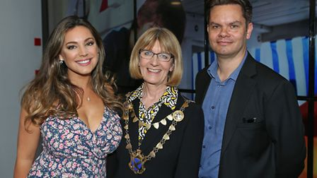 Model and actress Kelly Brook with mayor of St Albans cllr Frances Leonard and editor of the Herts A