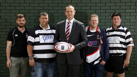 Left to right: Royston's Robert Turner (Director of Rugby), Dafydd Hudd (Chairman), Will Greenwood,