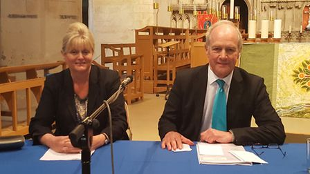 St Albans MP Anne Main with Harpenden MP Peter Lilley, two of the panellists at the EU Referendum de