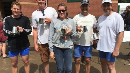 The successful Huntingdon Boat Club Masters coxed four of Edward Adams, Mark Smith, Andy Wood, Iain
