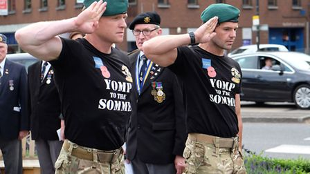 Ex-marines Christiaan Creaby and Michael Anderson of the Yomp to the Somme challenge lay a wreath at