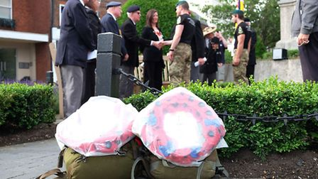 Ex-marines Christiaan Creaby and Michael Anderson of the Yomp to the Somme challenge arrive in St Al