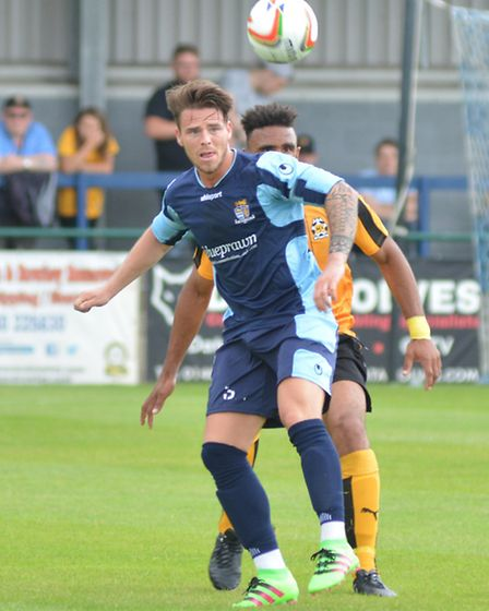 Declan Rogers of St Neots Town in action against Cambridge United. Picture: HELEN DRAKE
