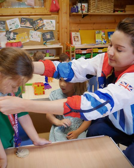 Team GB synchronised swimmer Olivia Federici, who is to compete at the Rio 2016 Olympic Games, visit