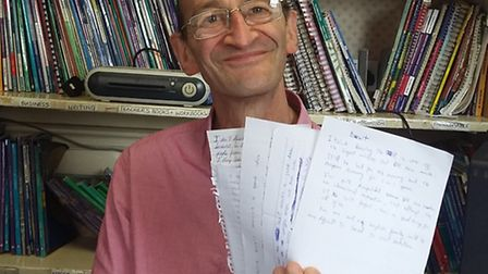 Ian Salkey, director of St Albans School of Languages, with letters of concern from foreign students