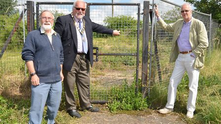 St Neots Pill Box, (l-r) Chairman of the Trustees at St Neots Museum Peter Ibbett, Mayor Derek Giles