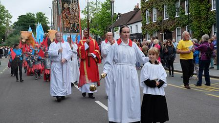 The Alban Pilgrimage moves along St Peter's Street