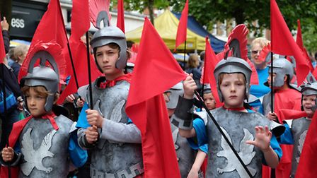 Children dressed as Roman soldiers take part in the Alban Pilgrimage