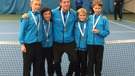 The Hertfordshire U10 team came second in the National County Cup at Sunderland: L-R James Styles, F