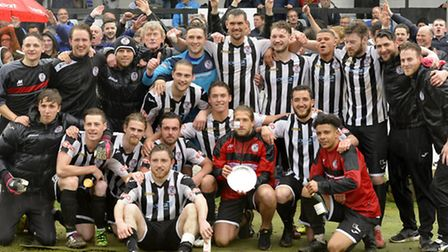 St Ives Town celebrating their promotion after winning the Southern League Division One (Central) pl