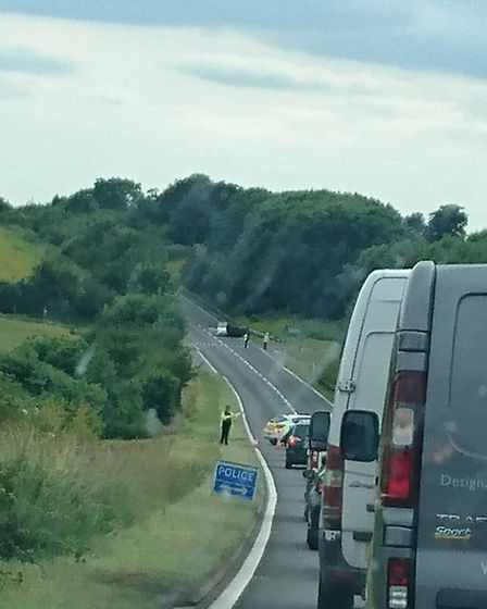 The scene on the A505 near Ashwell shortly after the crash on Wednesday last week. Photo: Stephen Sh