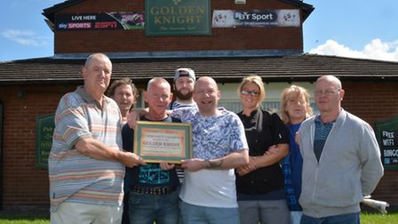 Cromwell Charter Community Champion, award to the Golden Knight Pub, from (left) Michael Bates.