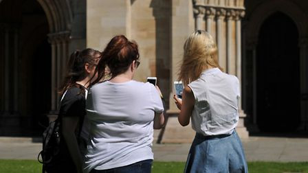 Pokemon Go players at St Albans Abbey