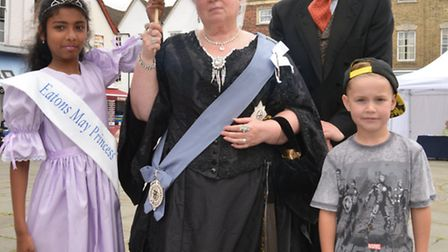 Victorian Festival, St Neots, (l-r) Eaton May Queen Kirusana, Queen Eve Bacon, Steve Bacon, and Ashl