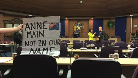 Pro-European residents attend a debate at St Albans district council, where councillors discussed a