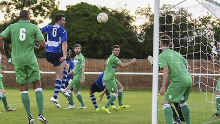 Ben Martin's header goes agonisingly over for St Albans. Picture: BOB WALKLEY
