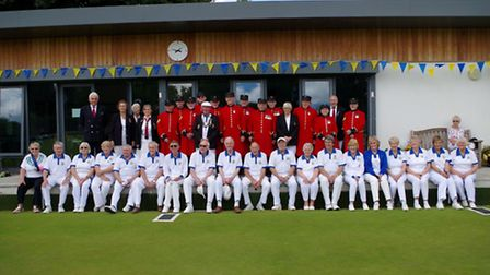 Batchwood and the Chelsea Pensioners line-up after the game