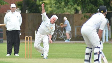 Martin Moore bowls for Kimbolton in their defeat at Warboys yesterday. Picture: HELEN DRAKE