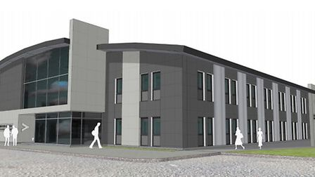 An artist's impression of how the revamped fire service headquarters in Huntingdon could look.