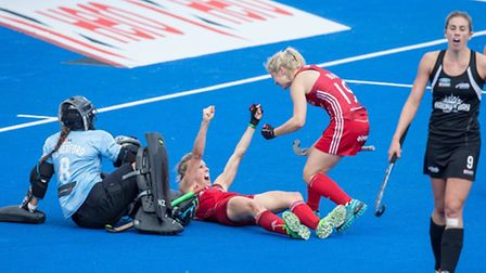 GB's Alex Danson celebrates her third goal against New Zealand at the Hockey Champions Trophy. Pictu