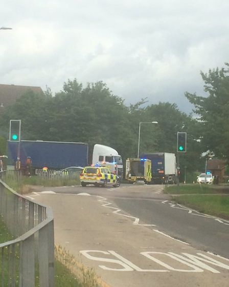 Emergency services have been attending the scene of the collision in Jersey Farm