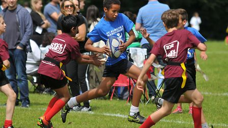 Fleetville Junior school playing touch rugby at the Herts School Games