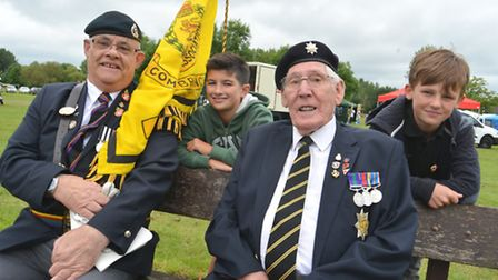 St Neots Armed Forces Day, Standard Bearers (l-r) Alan Argyle, and Albert Hayes, chatting with Reggi
