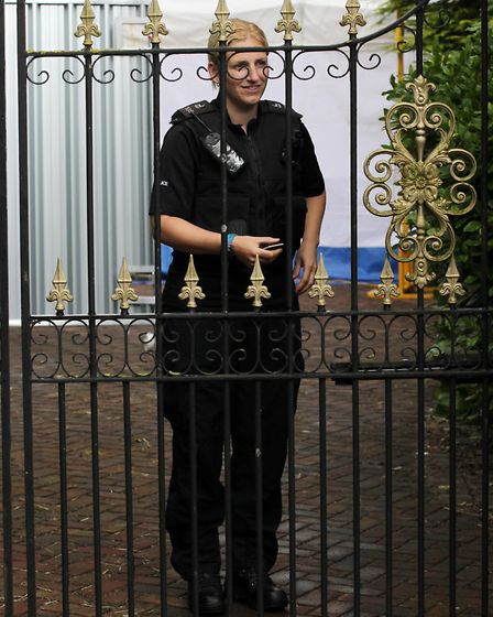 Police at the Royston home of author Helen Bailey.