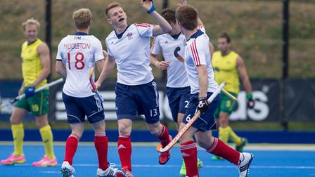 GB's Sam Ward celebrates after opening the scoring for GB. Picture: Ravi Ghowry/Great Britian Hockey