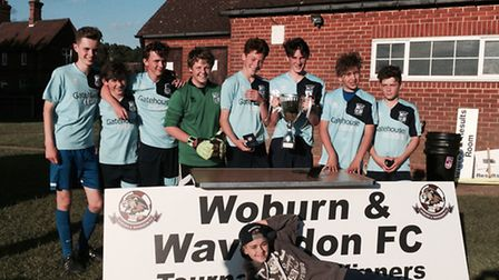 The Godmanchester Town Under 14 Blue side celebrate their success in the Woburn & Wavendon Lions tou