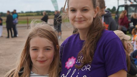 Paula with Hollie at the skydive event.