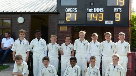 The Hunts Under 10 cricket team who beat Suffolk. They are, back row, left to right, Harry Gilman, J