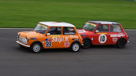 Sam Tomlinson (left) in action in the latest round of the BARC Mighty Mini Championship. Picture: PA