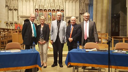 The EU Referendum debate hosted by St Albans Cathedral. Panellists, from left, for the Leave campaig