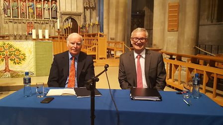 The EU Referendum debate held at St Albans Cathedral. Panellists (Remain) Gerald Corbett and Graham