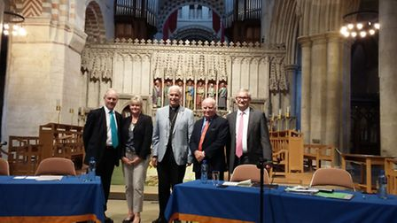EU Referendum debate at St Albans Cathedral, from left, for the Leave campaign: Harpenden MP Peter L