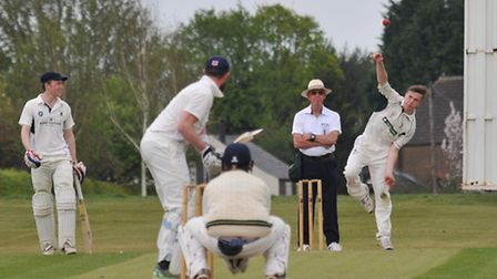 Josh Arnold had a successful bowling spell against Knebworth Park. Picture: DANNY LOO