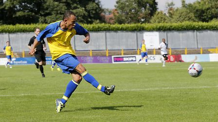 Rhys Hoenes scored a sensational solo goal against Arlesey Town. Picture: LEIGH PAGE