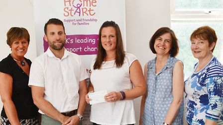 Office manager Tracy Aggett, cllr Ben Lewis, senior coordinator Sarah Mascall, coordinator Jackie Co