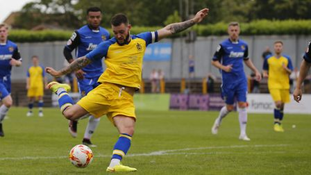 Louie Theophanous got the only goal of the game against Boreham Wood. Picture: LEIGH PAGE