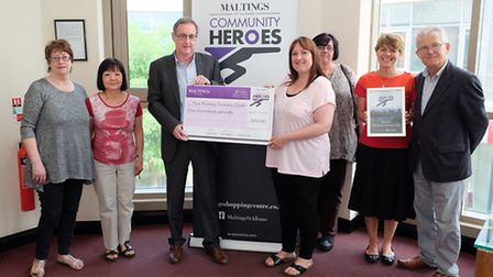 The Friday Friends Club, winners of the Maltings Community Heroes award are presented the award by c