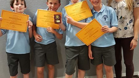 Winners of the Herts County Maths Challenge Dexter Smith, Greg Clark, Max Martin and Ben Chapman alo