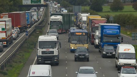 Traffic builds up on the A14 near Godmanchester