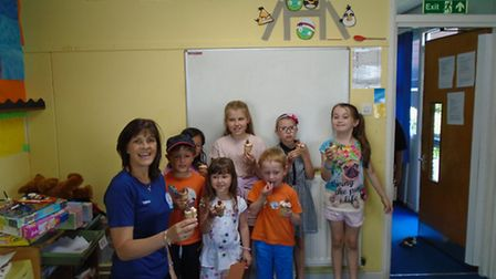Tesco community champion Mandy Jinkerson went to Fair Play Holiday Club in Royston to help them make