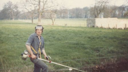 Philip Whaites strimmering in the gardens back in 1982.