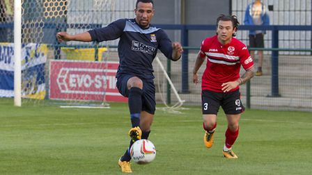Jordan Patrick bagged both goals as St Neots Town triumphed at Weymouth. Picture: CLAIRE HOWES