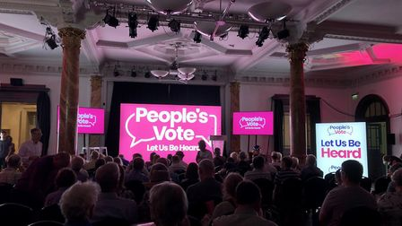 Standing room only at the People's Vote rally in Cheltenham. Photograph: People's Vote campaign.