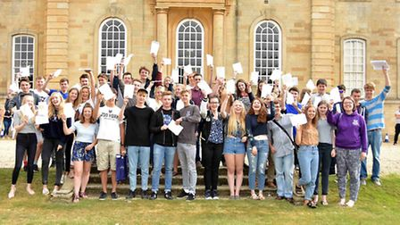 Students at Kimbolton School celebrate their results.