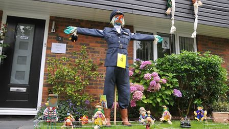A Great Escape themed scarecrow display in the Flamstead scarecrow festival