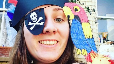 Museum Assistant Jenny Benton took part in a pirate themed craft day at Royston Museum.